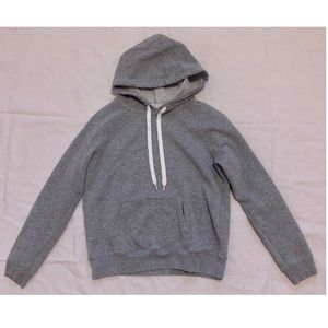 forever 21 grey hoodie with white drawstrings